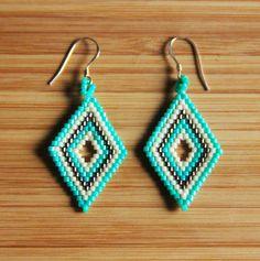 Boucles d'oreilles miyuki losange turquoise en argent par Ccedille
