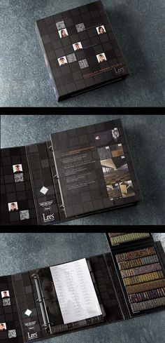 Interior design firms have tons of these books laying around. Often entire rooms are dedicated to them. So, it's important to make the presentation interesting. Here is a custom modular carpet architectural folder.