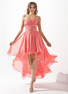 A-formet/Prinsesse Sweetheart Asymmetrisk Chiffong Ballkjole med Perlebesydd Brusende Volanger (022009591)