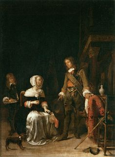 Gabriël Metsu - Soldier Paying a Visit to a Young Lady - WGA15094 - Gabriel Metsu — Wikipédia