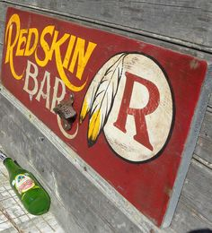 Redskin Bar Sign original hand by ZekesAntiqueSigns on Etsy, $78.00
