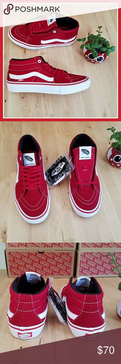 516935127a7 Vans Mid Sk8 Pro Scarlett Scarlett and white Vans Sk8 Pro Mids. Comes with  white