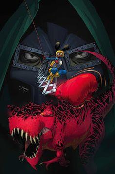 MOON GIRL AND DEVIL DINOSAUR #18MOON GIRL tiene un gran T. rex rojo. Ahora necesita sacar armas aún más grandes • El X-MEN, MS. MARVEL, HULK, EL DOCTOR EXTRAÑO, LA COSA, IRONHEART, KID KREE e incluso un grupo familiar de salvajes de la Edad de Piedra se unen para enfrentarse a un enemigo que no puede ser DOCTOR DOOM !!!   Es una batalla real ya que LUNELLA LAFAYETTE tiene una prueba final que necesita para as, y para probar al mundo que ella es la más inteligente que hay!