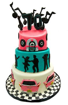 50's Dancing Theme three tier custom cake