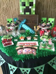 Awesome dessert table at a Minecraft birthday party! See more party ideas at CatchMyParty.com!