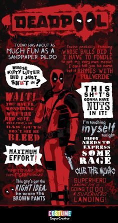 The Best Deadpool Quotes - Marvel Deadpool Film, Deadpool Und Spiderman, Deadpool Tattoo, Deadpool Art, Deadpool Funny, Deadpool Costume, Deadpool Unicorn, Batman Cosplay, Best Deadpool Quotes