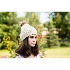 Cream wool hat, Wool beanie, Loose knit hat, Pompon slouchy hat, Fur... (155 PLN) via Polyvore featuring accessories, hats, wool hat, slouch hat, fur hat, slouchy beanie hats i slouch beanie