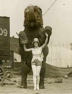 Vintage circus elephant and performer