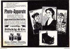 Werbung - Original-Werbung/ Anzeige 1908 - PHOTO-APPARATE / STÖCKIG - DRESDEN (CARTOON) - ca. 180 x 120 mm