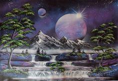 Cascades and waterfalls spacepainting, spraypainting art - Ivan Perončík
