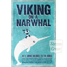 Viking on a Narwhal Print