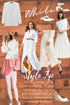 Today's mood board took me to white basics. You know, the white skirt, dress, jeans, jacket and shoes that just go with everything. Easy to mix and match with so many different colours to set the tone of your mood. The jacket is by Zara and also has matching culottes Ornate white sneakers by this cool US sustainable brand called Soludos (worth checking out - this brand also for sale at David Jones)