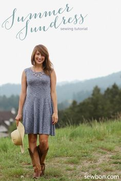 DIY Easy Knit Summer Sundress - FREE Sewing Pattern and Tutorial by Sewbon.com
