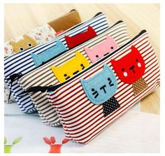 Cute Mini School Bag Pen Case Students Canvas Pencil Case Cosmetic Bag 4 Colors