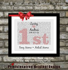 Custom Anniversary Gift Song Lyric Print ANY Personalized Wedding Lyrics Vows And Photo Unique For Men Wife