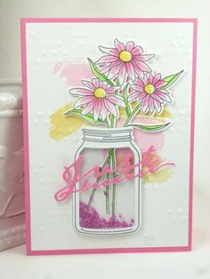 BTE Jar of Dasies by BeckyTE - Cards and Paper Crafts at Splitcoaststampers Mason Jar Cards, Mason Jars, Daisy, Cardmaking And Papercraft, Shaker Cards, Baby Kind, Card Sketches, Love Cards, Creative Cards