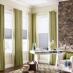 Combination Shades with Cordless Lift: Pleated Shade: Westport, Bone 3101 (top) and Double Cell Cellular Shades: Libretto, Birdbath 2055 (bottom); Drapery with Grommet Top: Coastal, Carribean 2465 with Inside Edge Banding: Dover, Snowfall 1157 Window Treatments Living Room, Living Room Windows, Custom Window Treatments, Curtains And Draperies, Custom Curtains, Corner Window Curtains, Home Cooler, Bali Blinds, Honeycomb Shades