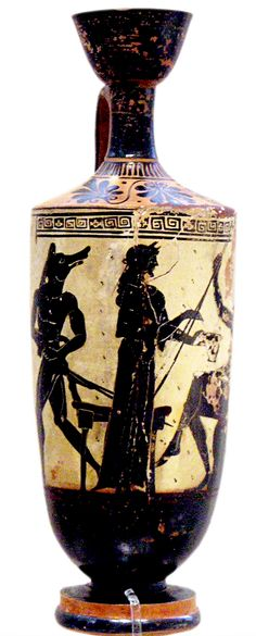 Black-figured Attic lekythos BC) by the Athena Painter, Circe and Odysseus - Nat. Zeus And Hera, Hades And Persephone, Mycenaean, Minoan, Greek Warrior, My Legacy, Trojan War, Greek Pottery, Black Figure