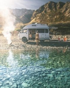 Wanaka, New Zealand with Cleo Codrington Volkswagen Minibus, Wanaka New Zealand, Camper Van Life, Bus Girl, Running On The Beach, Alpine Lake, Camping Photography, Van Camping, Exotic Places
