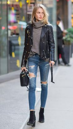 great street style /biker jacket + high neck sweater + bag + ripped jeans + boots
