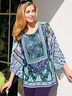 Scarf Print Tunic - <p> A dramatic print and relaxed, flattering length in one statement-making top. It looks fantastic over just about anything. Scooped neckline trimm