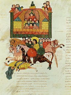 10 c. The death of Jezebel, thrown from her window and trampled by horses, fol.150 verso. miniature from a Mozarabic Bible, Spain.