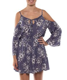 Love this Gray Floral Keyhole Shoulder-Cutout Dress on #zulily! #zulilyfinds