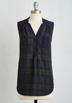 Girl About Scranton Tunic in Green Plaid. From the office to your favorite margarita-sipping spot, you entertain others in the effortless style of this breezy, ModCloth-exclusive top. #multi #modcloth