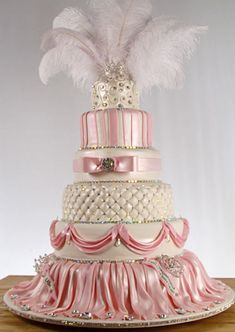 86 the feathers and make it all white ... that's what i want my future wedding cake to look like!!!