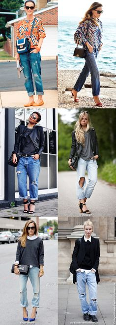 """""""Three ways to wear (trashed) boyfriend jeans: with a bright printed top, with a black biker, with a white shirt! Want to try it out?"""""""
