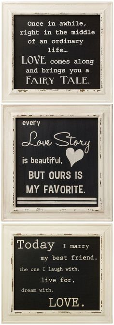 Romantic Shabby Chic Framed Box Sign #quote #wall #art. It would be cute to have a different love quote at each table!! :)