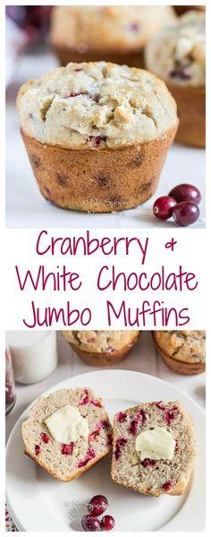 Bakery Style Jumbo Cranberry & White Chocolate Chip Muffins.