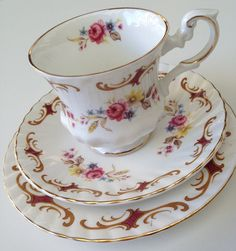 Rosina Fine Bone China Teacup Saucer & Plate by socallrare on Etsy