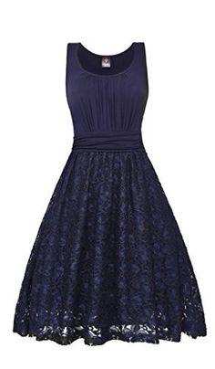 41ed5923ba7 Elf Queen Women s Elegant Vintage Floral Lace Cocktail Evening Wedding Dress  US Size S Sapphire Blue