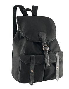 Rucksack in 340 g gewaschenem Canvas Vintage-Look, mit PVC-GarniturenZwei FronttaschenKordelzug für oberen VerschlussPassende Schultergurte32 x 45 x 18 cm