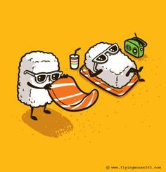"""Tee Shirt Illustration - 2012 - Batch) by Chow Hon Lam, via Behance ------- It's titled """"Summer Sushi"""".How adorable! Its kind of the illustration style I want to go into for my project. Japon Illustration, Funny Illustration, Food Illustrations, Graphic Illustration, Illustration Styles, Food Cartoon, Cute Cartoon, Sushi Cartoon, Cartoon Drawings"""