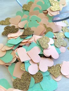 Peach Mint & Gold Glitter Confetti  Heart by paperconfettidotcom