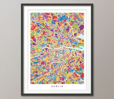 Dublin Map, Dublin Ireland City Map, Street Map of Dublin Eire, Art Print by artPause on Etsy Dublin Map, Dublin Ireland, Mendoza, Map Of Michigan, Canvas Art Prints, Framed Prints, Cityscape Art, Watercolor Map, Color Depth