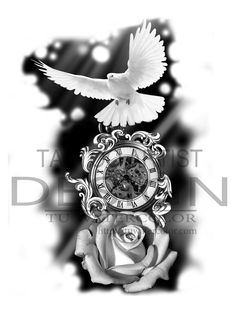 clock and rose tattoo design