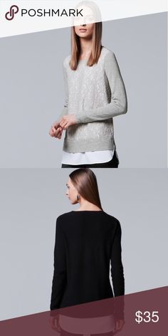 Simply Vera by Vera Wang Layered Lace Sweater Brand new with tags! (006-0266)   PRODUCT DETAILS: •Size: Large •Colors: Light Gray, White •Made in China •Measurements: Chest-20inch Length-29-32inch •Sweater: 53% cotton, 40% nylon, 7% viscose •Woven: 93% polyester, 7% spandex •Machine Wash •White Lining to give off impression of undershirt •Lace Material •Long Sleeve •Crew Neck •White lining peaks out the bottom  Tags: work professional business career winter fall Burgundy crochet layered top…