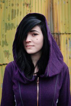 love the black hair w this purple hemp hoodie!