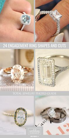 24 Engagement Ring Shapes and Cuts - Total Jewelry Photo Guide ❤ Look at the the basis and the most popular engagement ring shapes such as princess, cushion, emerald, oval, asscher. See more:  http://www.weddingforward.com/engagement-ring-shapes/ #wedding #engagement #rings
