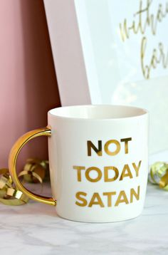 My favorite mug :) Not today satan! Trust God Power of prayer Christian products Christmas gift ideas Cute mugs Cute Mugs, Funny Mugs, Funny Gifts, Cute Coffee Cups, White Coffee Mugs, Funny Coffee, Coffee Drinks, Funny Christmas Gifts, Christmas Humor