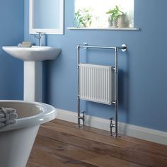 Traditional flat period charm towel radiator for the bathroom.