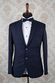 Navy #blue italian marvellous #slim fit #suit with mandarin collar -ST360