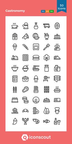 Gastronomy Icon Pack - 50 Line Icons Design Ios, Travel Design, Icon Design, Flat Design, Cute Pictures To Draw, Chicken Icon, Filofax, Logo Minimalista, Restaurant Icon
