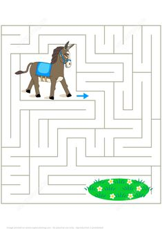 Help the Donkey to Find His Way to the Pasture Labyrinth for Kids   Super Coloring
