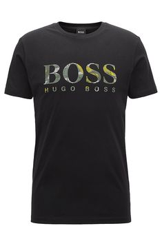 BOSS - Cotton T-shirt in a relaxed fit with logo Stylish Mens Fashion, Stylish Menswear, Boss Tshirt, Printed Shirts, Tee Shirts, Casual T Shirts, Shirt Outfit, Hugo Boss, Shirt Print