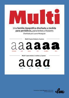 Multi, a custom sans serif typeface family for news by Laura Meseguer