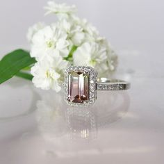 Watermelon tourmaline solitaire ring is stunning. Vibrant sunset tourmaline weighs and is set in a sterling silver solitaire design. Bridal Jewelry, Gemstone Jewelry, Jewelry Rings, Jewellery, Tourmaline Ring, Watermelon Tourmaline, Halo Rings, Solitaire Ring, Non Diamond Engagement Rings